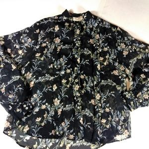 VTG Button Up Floral Sheer Victorian Pleated Top